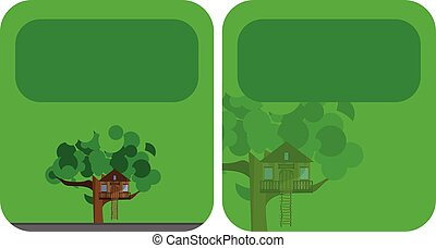 Banners with a tree house
