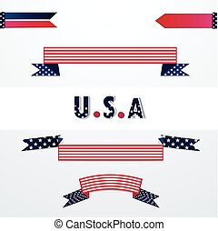 Banners with American flag colors.