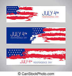 Banners with american flag. Independence Day design