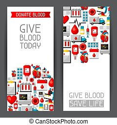 Banners with blood donation items. Medical and health care objects