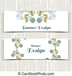 Banners With Blue Flowers