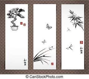 Banners with bonsai tree, butterflies bamboo - Hand drawn in...