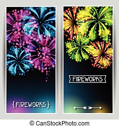 Banners with bright colorful fireworks and salute