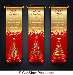 Banners with Christmas greetings - Vertical golden banners ...