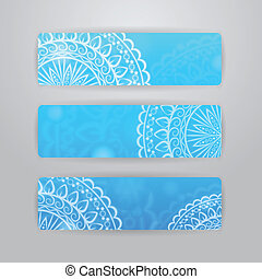 banners with circle flower pattern