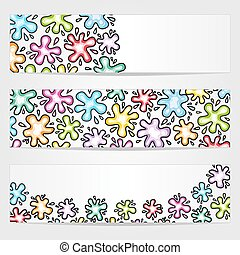 Banners with colored ink blots - Three vector banners with ...