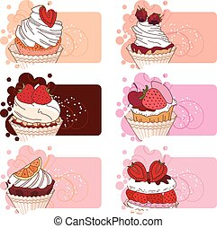 Banners with different desserts with fruits. For your design, announcements, posters, restaurant menu.