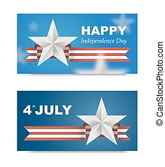 Banners with flag for US Independence Day.