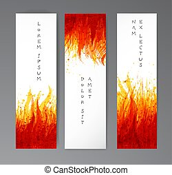 Banners with flame on white background. Place for your text. Vector illustration with fire.