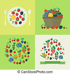 Banners with fresh berries and fruits