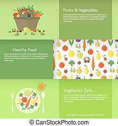 Banners with fruits and vegetables