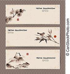 Banners with Fuji , bird, bamboo , pine tree - Set of...