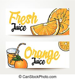Banners with glass of juice, oranges and place for text