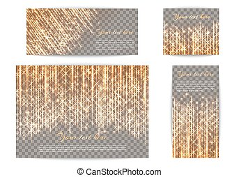 Banners with glowing golden rays - Collection of shimmering...