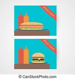 Banners with hamburger and hotdog