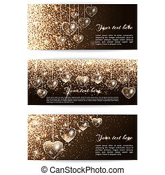 Banners with hearts horizontal - Set of horizontal banners...