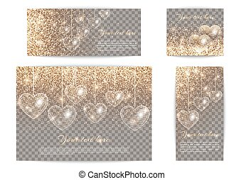 Banners with hearts of different sizes on a transparent...