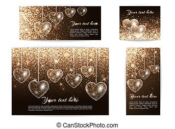 Banners with hearts of different sizes
