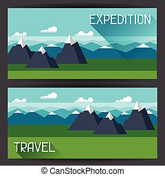 Banners with illustration of mountain landscape in flat style