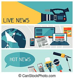 Banners with journalism icons. Mass media and press conference concept symbols in flat style.
