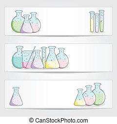 Banners with laboratory test tubes