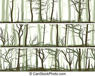 Banners with many tree trunks. - Set vector horizontal...