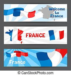 Banners with map and flag of France.