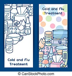 Banners with medicines and medical objects. Treatment of cold and flu