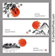 Banners with red sun, bamboo, mountains and island