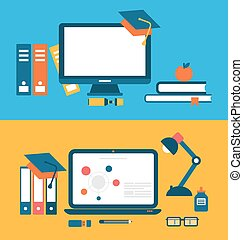 Banners with set of flat concept icons for education, distance education, training