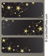 Banners with shiny stars