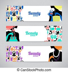 Banners with stylish beautiful shopping woman silhouette and fashion icons. Template design cards