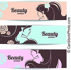 Banners with stylish beautiful woman silhouette in pastel colors