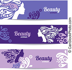 Banners with stylish beautiful woman silhouette. Template...