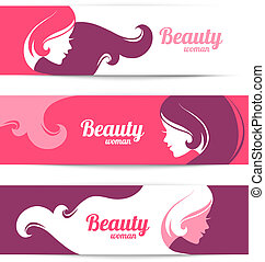 Banners with stylish beautiful woman silhouette. Template design cards