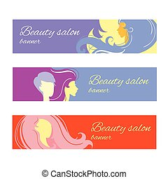 Banners with stylish woman silhouette. Vector illustration