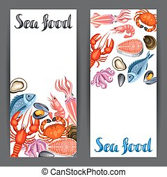Banners with various seafood. Illustration of fish, shellfish and crustaceans