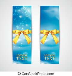 banners with yellow bows on the sky background