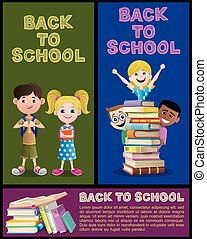 bannière, école, 2, ensemble, partie