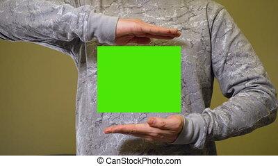 bannière, écran, mains, écarts, chromakey, vert, homme, ...