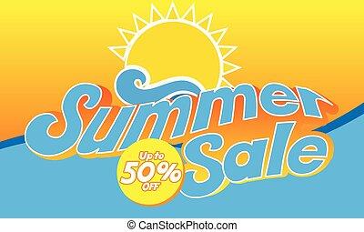bannière, été, vente, 50%, fermé, vecteur, image