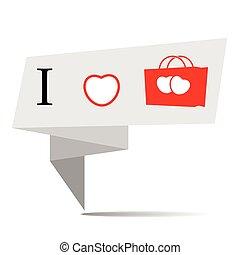 bannière, achats, vecteur, amour