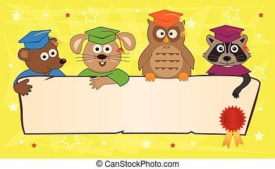 bannière, animal, remise de diplomes