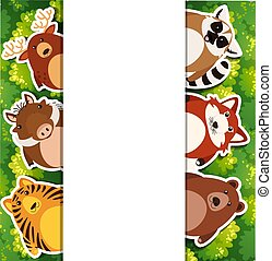 bannière, animaux, gabarit, mignon