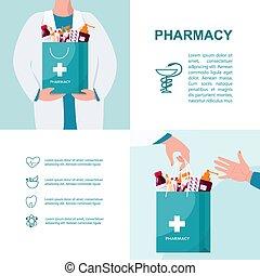 bannière, annonce, pharmacie, médecine, ou, toile, brochure...