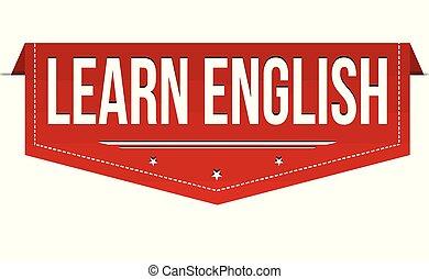 bannière, apprendre, conception, anglaise