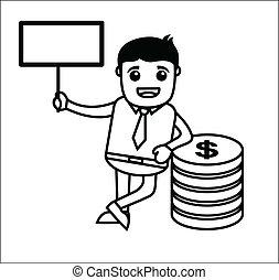 bannière, argent, ouvrier, bureau
