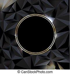 bannière, balle, arrière-plan noir, or