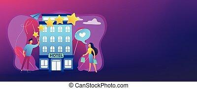 bannière, boutique, concept, header., hôtel
