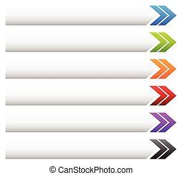 bannière, bouton, fond, forme, divers, colors., flèche, vide